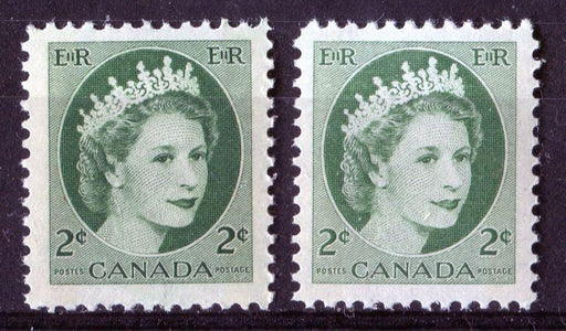 Canada #338p (SG#464p) 2c Green 1954 Wilding Issue W2B 2 Different Shades & Tags VF-75 NH Brixton Chrome