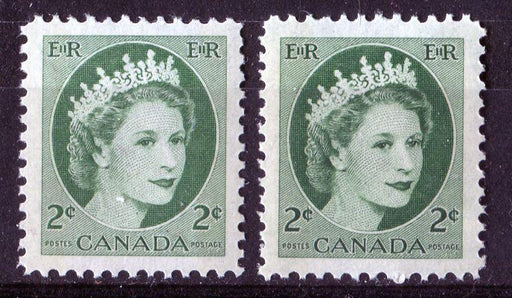 Canada #338p (SG#464p) 2c Green 1954 Wilding Issue W2B 2 Different Shades & Tags VF-80 NH Brixton Chrome