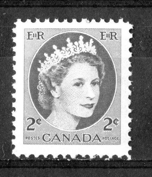 Canada #338p (SG#464p) 2c Green 1954 Wilding Issue W2B DF Greyish Ribbed Paper VF-80 NH Brixton Chrome