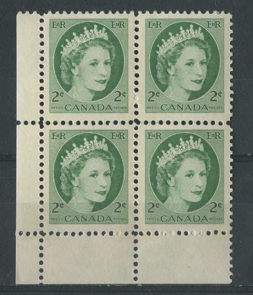 Canada #338p (SG#464p) 2c Green 1954 Wilding Issue W2B Tag LL DF Gr. Smooth Paper VF-80 NH Brixton Chrome