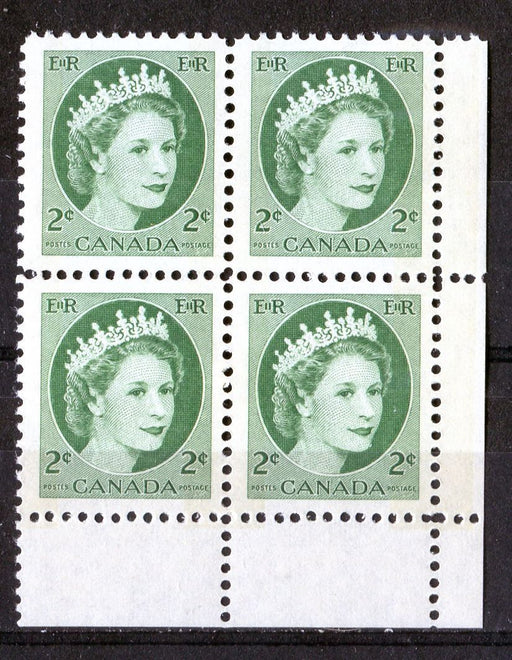 Canada #338p (SG#464p) 2c Green 1954 Wilding Issue W2B Tag LR DF 2 Different Papers VF-75 NH Brixton Chrome