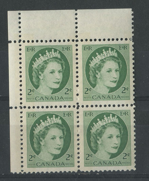Canada #338p (SG#464p) 2c Green 1954 Wilding Issue W2B Tag UL DF Gr. Smooth Paper VF-80 LH Brixton Chrome