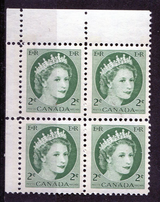 Canada #338p (SG#464p) 2c Green 1954 Wilding Issue W2B Tag UL DF Greyish Ribbed Paper VF-75 NH Brixton Chrome
