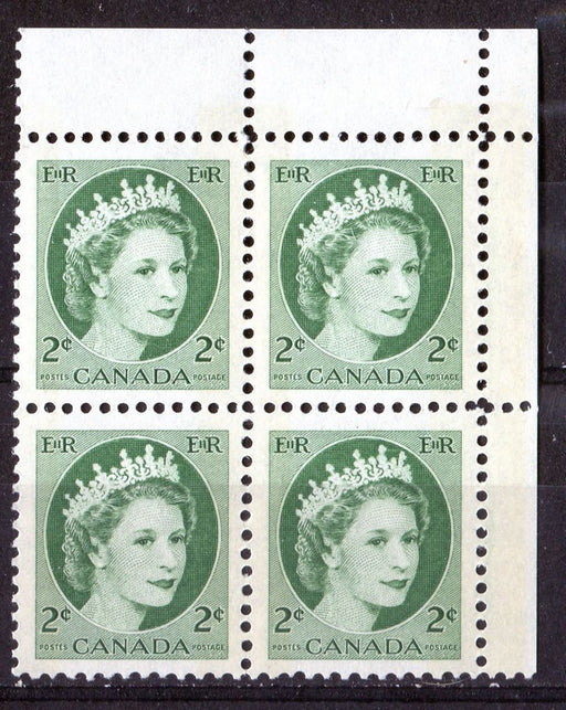 Canada #338p (SG#464p) 2c Green 1954 Wilding Issue W2B Tag UR DF Gr. Smooth Paper VF-80 NH Brixton Chrome