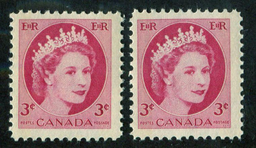 Canada #339p (SG#465p) 3c Carmine 1954 Wilding Issue W2B 2 Different Papers F-70 NH Brixton Chrome
