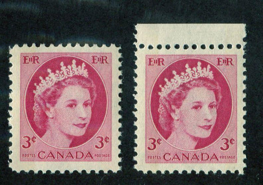 Canada #339p (SG#465p) 3c Carmine 1954 Wilding Issue W2B 2 Different Papers VF-75 NH Brixton Chrome
