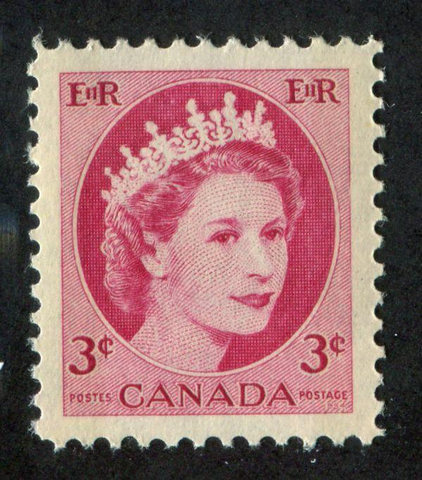 Canada #339p (SG#465p) 3c Carmine 1954 Wilding Issue W2B DF Greyish Ribbed Paper VF-84 NH Brixton Chrome