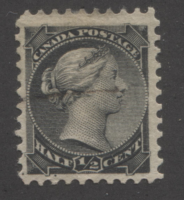 "Canada #34 1/2c Black Queen Victoria 1870-1897 Small Queen Issue a Fine Used Example of the Late Montreal Printing, Perf. 12, With Unlisted ""Balloon Flaw"" Variety Brixton Chrome"