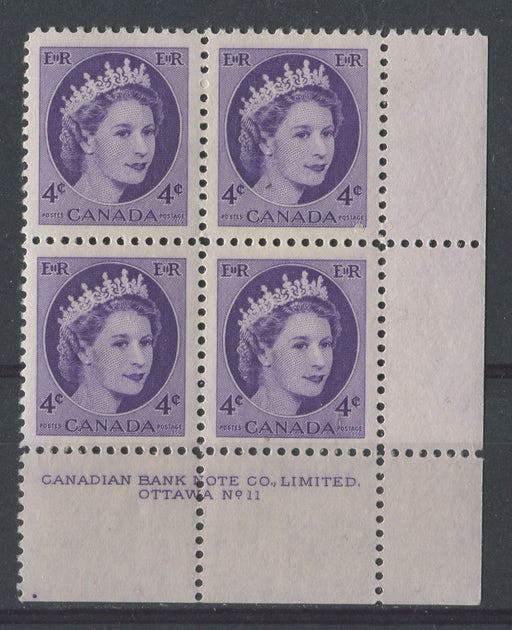 Canada #340 (SG#466) 4c Bluish Violet 1954 Wilding Issue Plate 11 LR DF GW Smooth Paper VF-80 NH Brixton Chrome