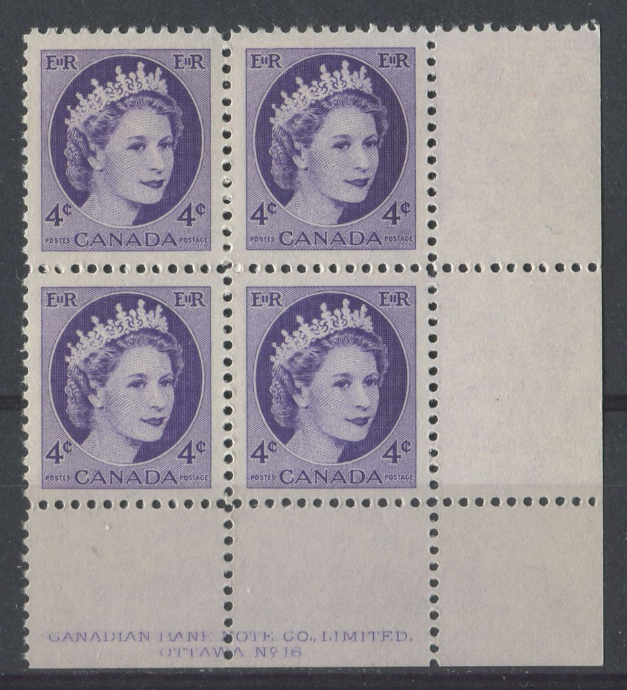 Canada #340i (SG#466) 4c Bluish Violet 1954 Wilding Issue Plate 16 LR DF Gr. Ribbed Paper VF-80 NH Brixton Chrome