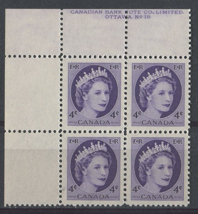 Canada #340i (SG#466) 4c Deep Violet 1954 Wilding Issue Plate 18 UL DF Gr. Ribbed Paper VF-80 NH Brixton Chrome