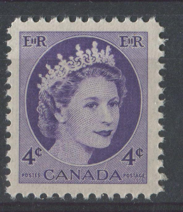 Canada #340i (SG#466) 4c Dull Milky Violet 1954 Wilding Issue DF LV Smooth Paper VF-75 NH Brixton Chrome