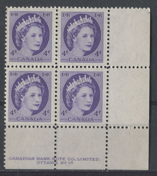 Canada #340i (SG#466) 4c Dull Violet 1954 Wilding Issue Plate 18 LR DF LV Ribbed Paper VF-80 NH Brixton Chrome