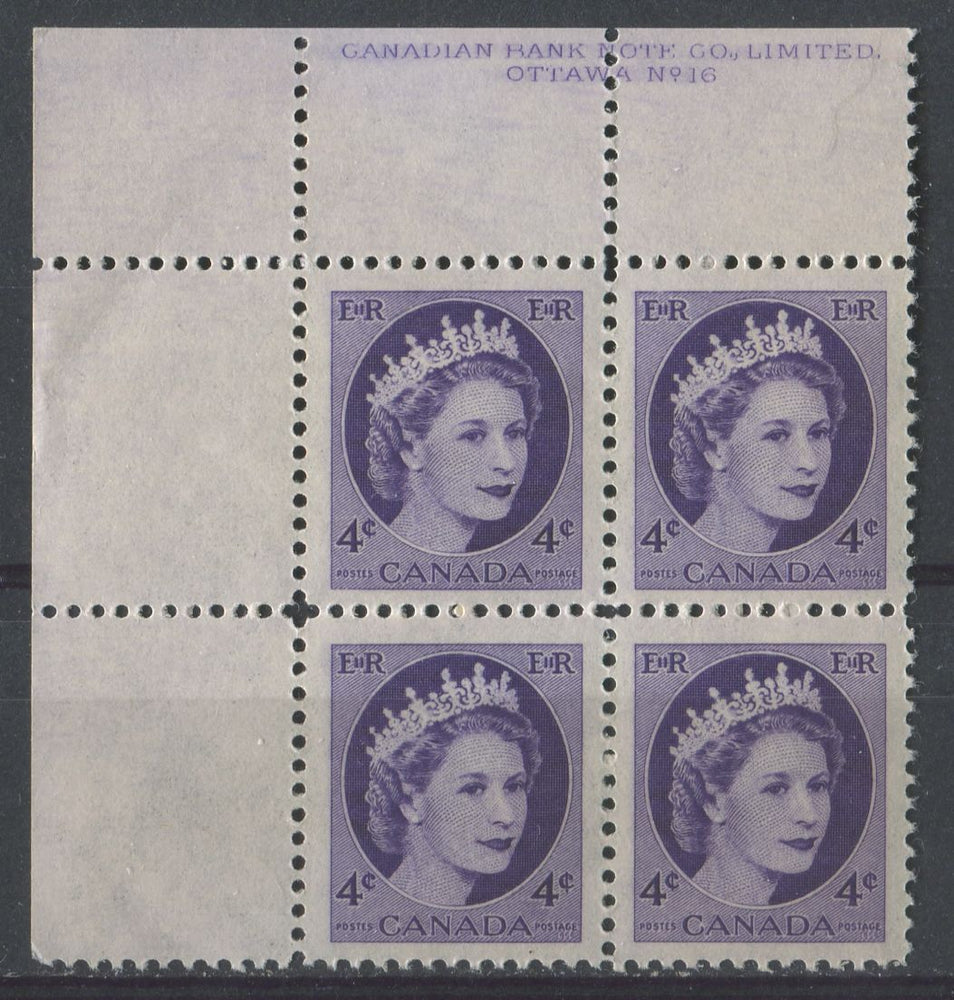 Canada #340i (SG#466) 4c Violet 1954 Wilding Issue Plate 16 UL DF Gr. Smooth Paper VF-75 NH Brixton Chrome