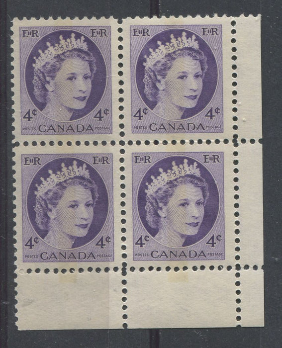 Canada #340p (SG#466p) 4c Deep Rosy Violet 1954 Wilding Issue WCB LR DF Gr. Ribbed Paper VF-80 NH Brixton Chrome
