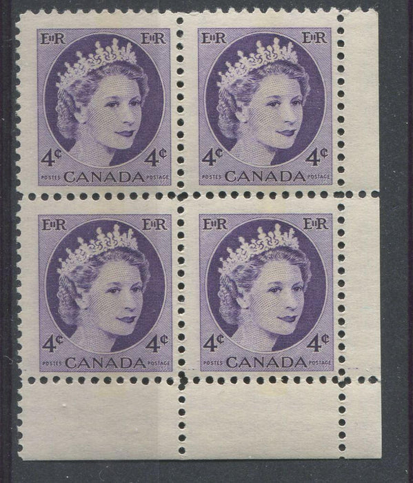 Canada #340p (SG#466p) 4c Dull Violet 1954 Wilding Issue WCB LR DF GW Ribbed Paper F-65 NH Brixton Chrome