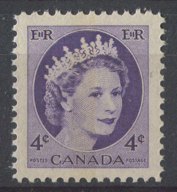 Canada #340p (SG#466p) 4cDull Violet 1954 Wilding Issue WCB DF Gr. Ribbed Paper VF-84 NH Brixton Chrome