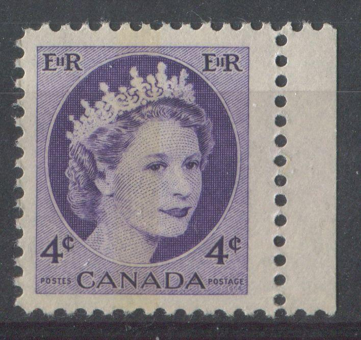 Canada #340p (SG#466p) 4cDull Violet 1954 Wilding Issue WCB DF GW Ribbed Paper VF-75 NH Brixton Chrome
