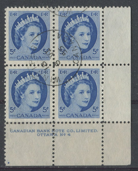 Canada #341 (SG#467) 5c Deep Blue 1954 Wilding Issue Plate 4 LR DF GW Ribbed Paper VF-80 CDS Brixton Chrome