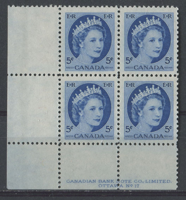 Canada #341i (SG#467) 5c Deep Bright Ultramarine 1954 Wilding Issue Plate 17 LL DF LV Smooth Paper VF-75 NH Brixton Chrome
