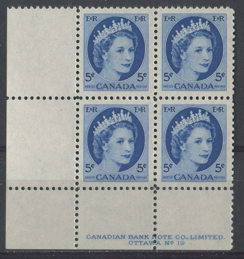 Canada #341i (SG#467) 5c Navy Blue 1954 Wilding Issue Plate 19 LL DF Gr. Ribbed Paper VF-80 NH Brixton Chrome