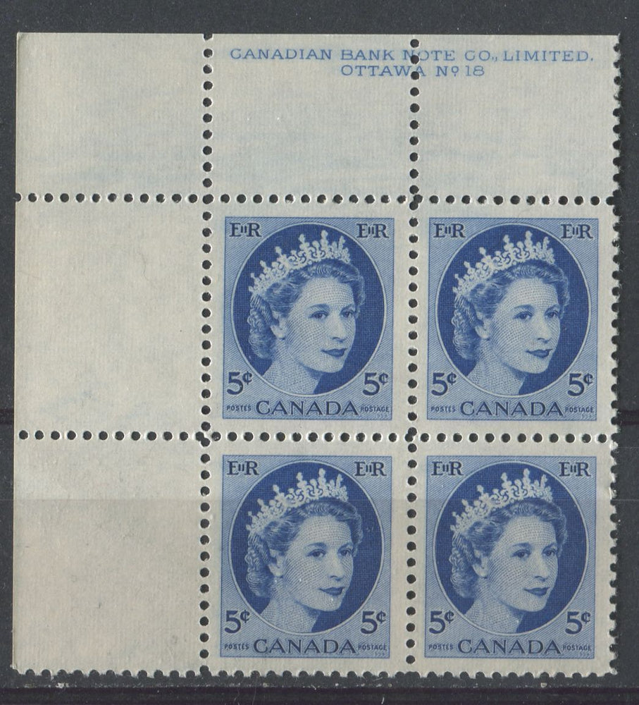 Canada #341i (SG#467) 5c Ultramarine 1954 Wilding Issue Plate 18 UL DF Wh Smooth Paper VF-80 NH Brixton Chrome