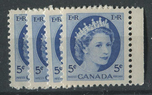 "Canada #341i (SG#467) 5c Ultramarine 1954 Wilding Issue Selection of 4 Different Papers and Shades Group ""A"" VF-80 NH Brixton Chrome"