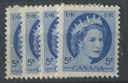 "Canada #341i (SG#467) 5c Ultramarine 1954 Wilding Issue Selection of 4 Different Papers or Shades Group ""A"" VF-75 NH Brixton Chrome"