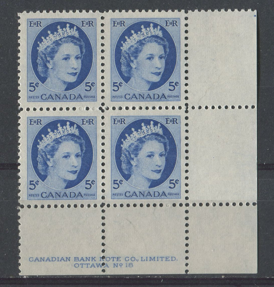 Canada #341i (SG#467) Greenish Ultramarine 1954 Wilding Issue Plate 18 LR DF GW Ribbed Paper VF-80 NH Brixton Chrome