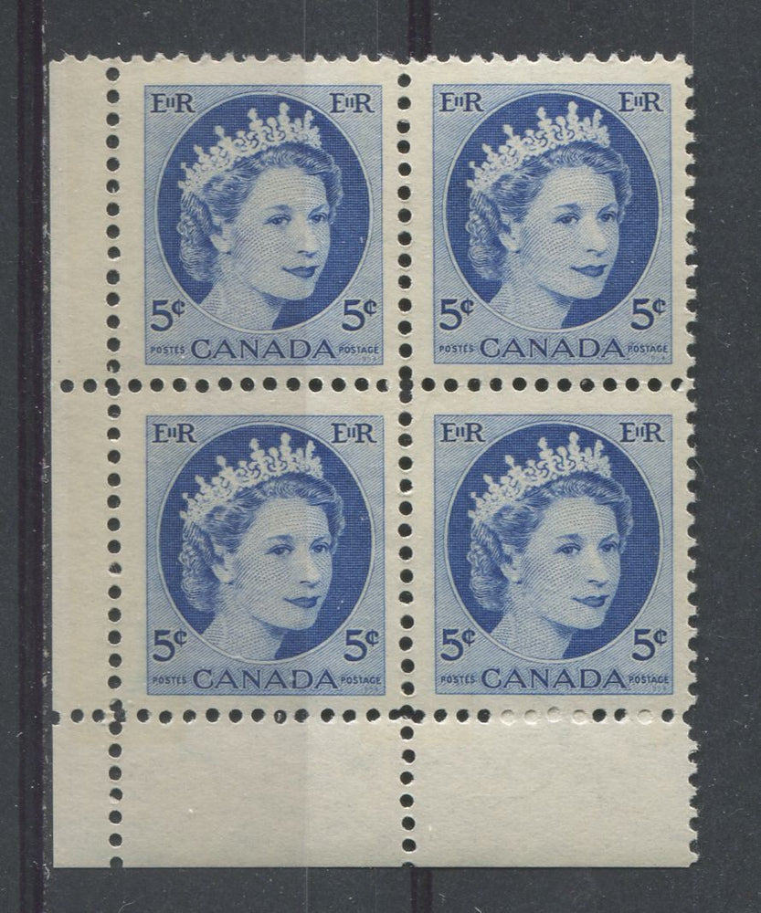 Canada #341p (SG#467p) 5c Dark Blue 1954 Wilding Issue W2B LL Blk DF Ivory Ribbed Paper VF-75 NH Brixton Chrome