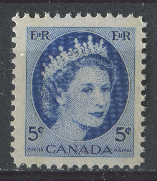 Canada #341p (SG#467p) 5c Ultramarine 1954 Wilding Issue W2B Moderate Tag DF GW Paper VF-75 NH Brixton Chrome