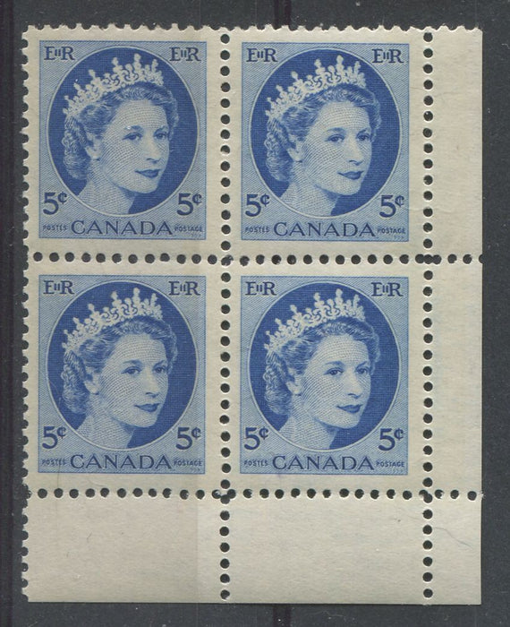 Canada #341p (SG#467p) Light Bright Ultramarine 1954 Wilding Issue W2B LR Block DF Gr. Ribbed Paper VF-80 NH Brixton Chrome