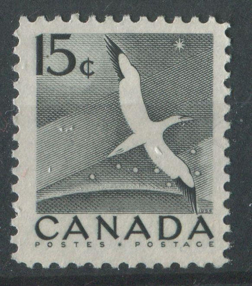 Canada #343 (SG#474) 15c Black Gannet 1954 Wilding Issue DF Greyish Mild Ribbed Paper VF-75 NH Brixton Chrome