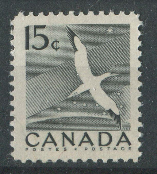 Canada #343 (SG#474) 15c Black Gannet 1954 Wilding Issue DF Greyish Strong Ribbed Paper VF-80 NH Brixton Chrome