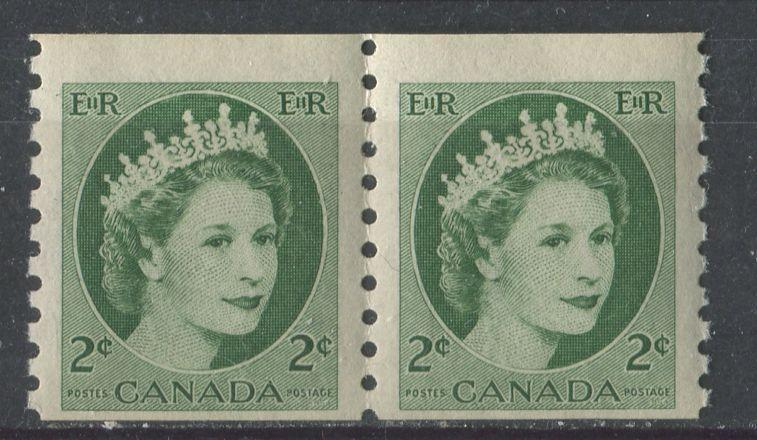 Canada #345 (SG#469) 2c Green 1954 Wilding Issue Coil Pair 4 & 4.25 mm Spacings DF Gr. Paper F-65 NH Brixton Chrome