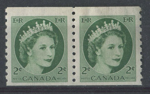 Canada #345 (SG#469) 2c Green 1954 Wilding Issue Coil Pair 4 mm Spacing, DF Gr. Smooth Paper VF-75 NH Brixton Chrome