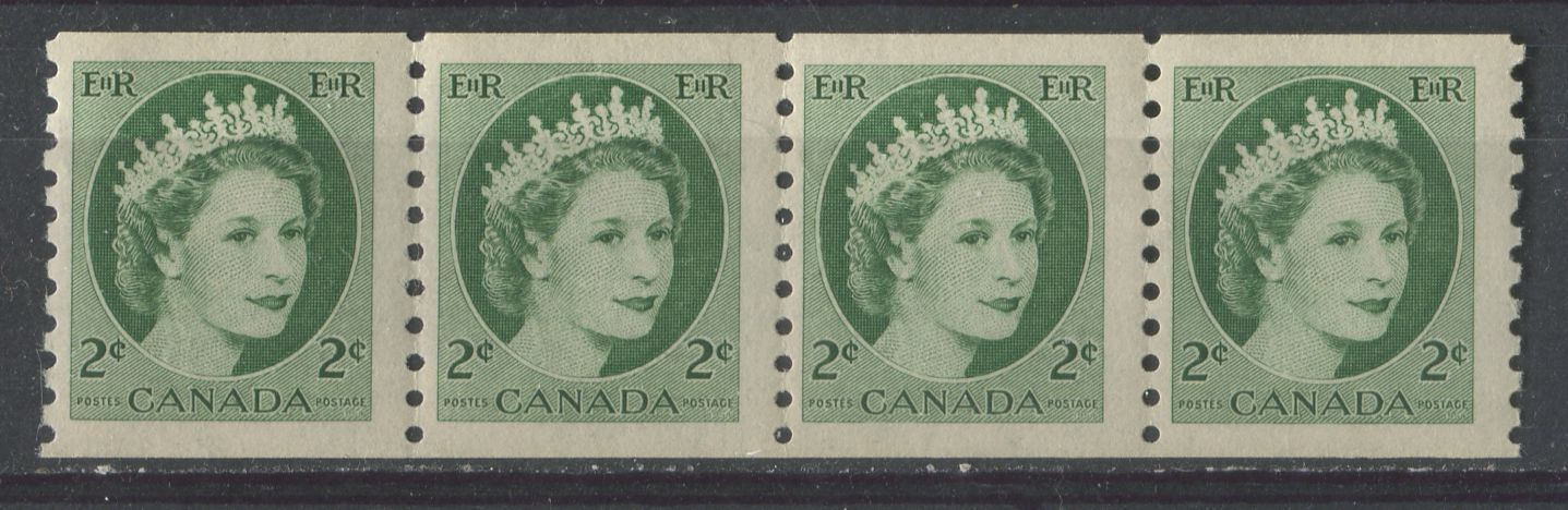 Canada #345 (SG#469) 2c Green 1954 Wilding Issue Coil Strip 4 mm, 4.25 mm, 4.5 mm Spacings F-70 NH Brixton Chrome