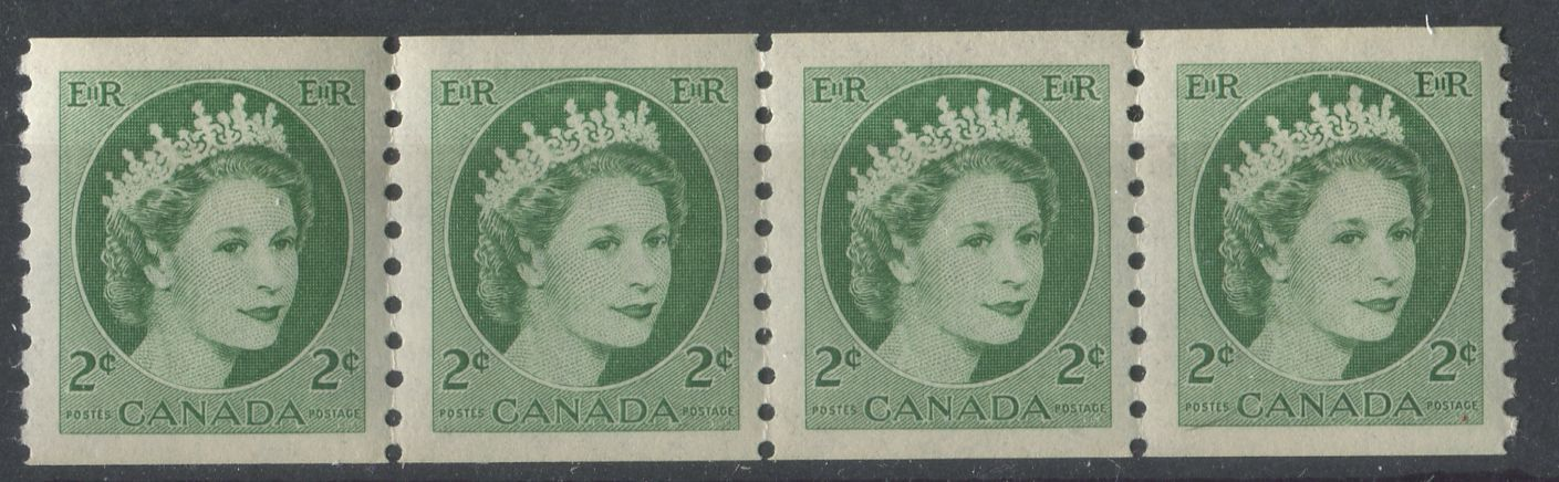 Canada #345 (SG#469) 2c Green 1954 Wilding Issue Coil Strip 4.25 mm, 4 mm, 4 mm Spacings - VF-80 NH Brixton Chrome