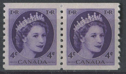 Canada #347 (SG#470) 4c Deep Purple Violet 1954 Wilding Issue Coil Pair DF GW Smooth Paper VF-80 NH Brixton Chrome