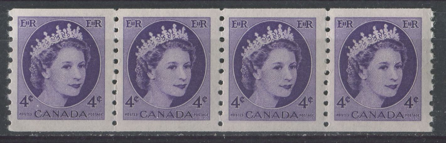Canada #347 (SG#470) 4c Violet 1954 Wilding Issue Coil Strip 4 mm Spacing DF Gr. Smooth Paper VF-75 NH Brixton Chrome