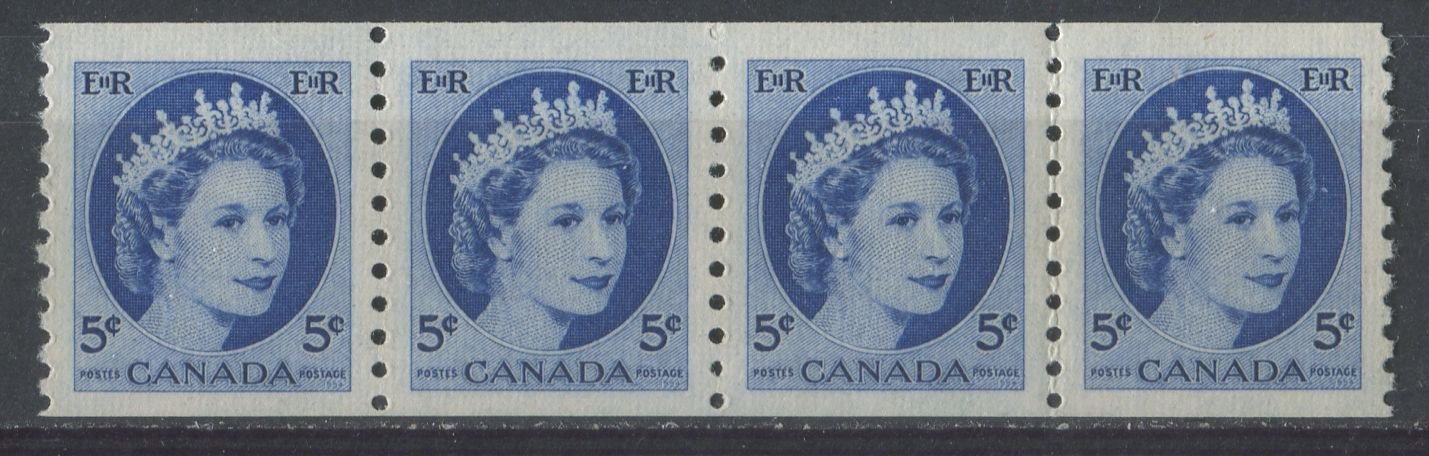 Canada #348 (SG#471) 5c Ultramarine 1954 Wilding Issue Coil Strip of 4 DF Gr. Ribbed Paper VF-80 NH Brixton Chrome
