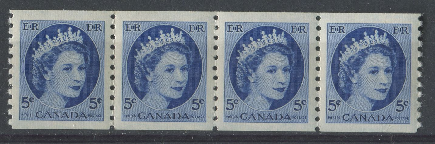Canada #348 (SG#471) 5c Ultramarine 1954 Wilding Issue Coil Strip of 4 DF GW Ribbed Paper VF-84 NH Brixton Chrome