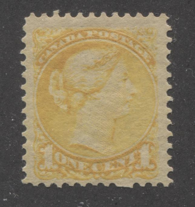 Canada #35 1c Deep Dull Yellow Queen Victoria, 1870-1897 Small Queen Issue, Fine Mint Second Ottawa Printing, Perf. 12 x 12.25 Brixton Chrome