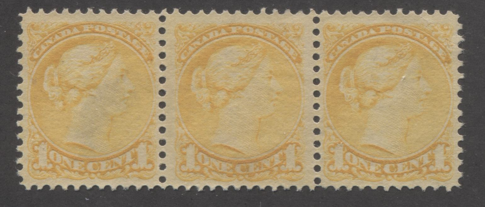 Canada #35 1c Deep Yellow Queen Victoria, 1870-1897 Small Queen Issue, Second Ottawa Printing, A Very Fine Unused Strip of Three, Perf. 12 Brixton Chrome