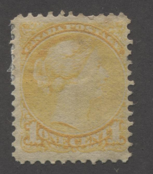Canada #35 1c Yellow Queen Victoria, 1870-1897 Small Queen Issue, Very Good Unused Example of the Second Ottawa Printing, Perf. 12 Brixton Chrome