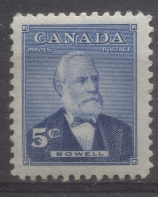 Canada #350 (SG#476) 5c Bright Blue Sir Mackenzie Bowell 1954 Prime Ministers Issue VF 75/80 NH Brixton Chrome