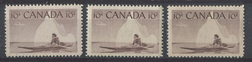 Canada #351 (SG#477) 10c Purple Brown Inuk & Kayak, 1955-67 Wilding Issue 3 Different Shades & Papers VF-75 NH Brixton Chrome