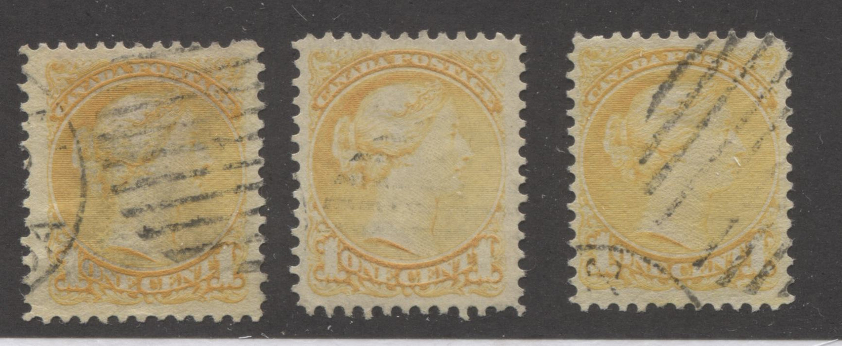 Canada #35/35i 1c Yellow Queen Victoria, 1870-1897 Small Queen Issue, Three Very Fine Used Examples of the Late Montreal Printing, and Second Ottawa Printing, Each a Different Shade or Paper, Perf. 12.25 x 12 Brixton Chrome