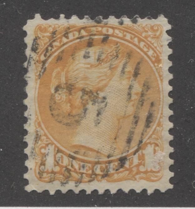 "Canada #35a 1c Deep Orange Queen Victoria, 1870-1897 Small Queen Issue, VF Used Example of Montreal Printing, Perf. 12 With ""5"" Hamilton Grid Cancel Brixton Chrome"
