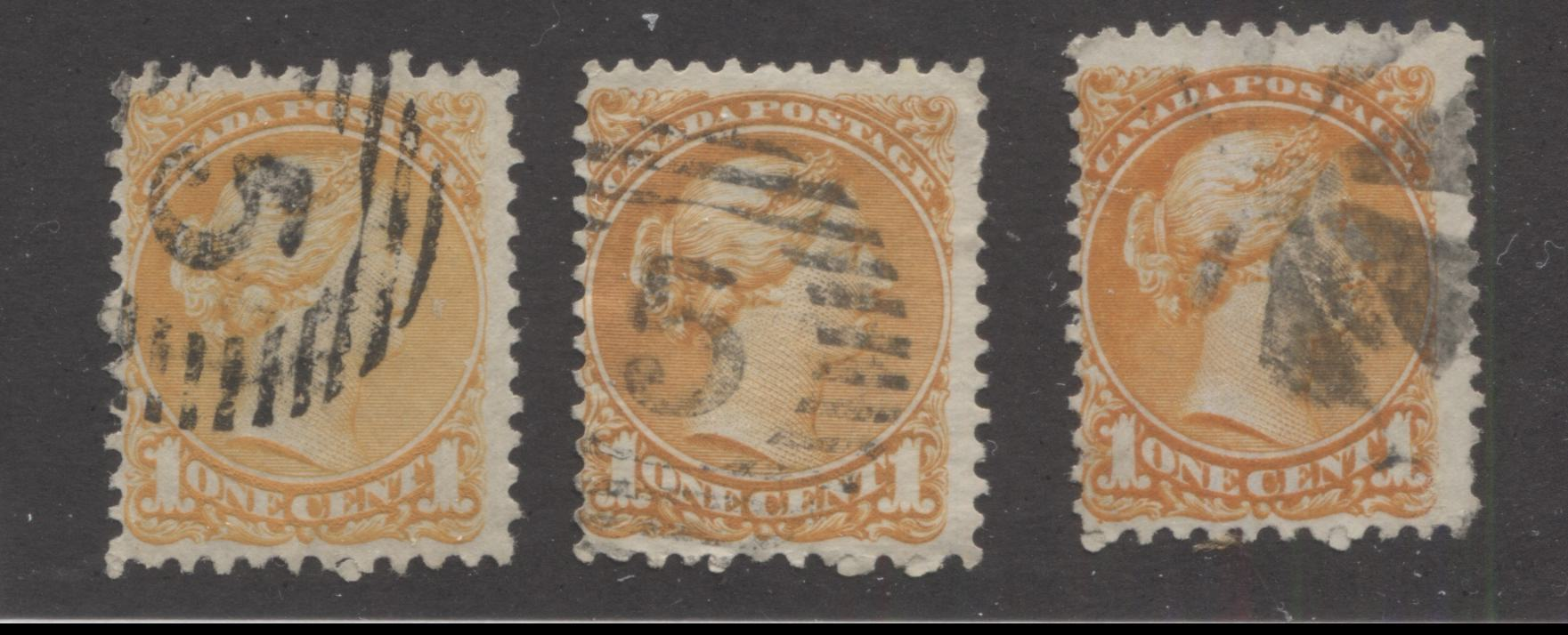 Canada #35a, 35iv, 35v 1c Orange Queen Victoria, 1870-1897 Small Queen Issue, Three Very Good or Fine Used Examples of the First Ottawa Printing, Each a Different Shade or Paper, Perf. 11.9 x 12 Brixton Chrome
